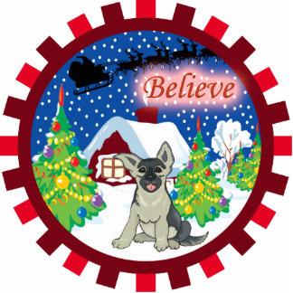 german shepherd believe in santa ornament
