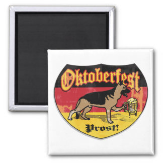 German Shepherd Bier Hound 2 Inch Square Magnet