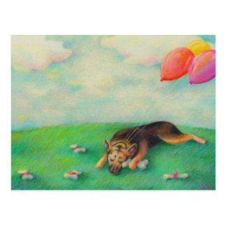 German shepherd birthday girl cute fun art drawing postcard