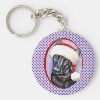 German Shepherd BLK Christmas Santa Pup Basic Round Button Keychain