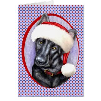 German Shepherd BLK Christmas Santa Pup Cards