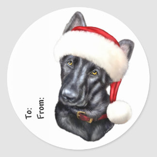 German Shepherd BLK Christmas Santa Pup Gift Tags Classic Round Sticker