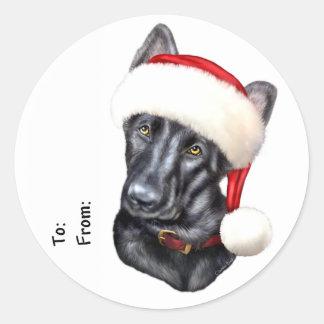 German Shepherd BLK Christmas Santa Pup Gift Tags Sticker