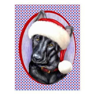 German Shepherd BLK Christmas Santa Pup Postcard
