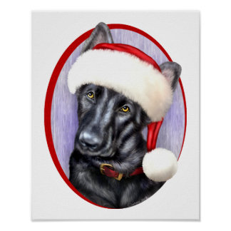 German Shepherd BLK Christmas Santa Pup Poster