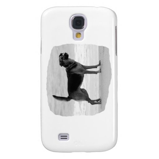 German Shepherd bw beach stand tongue out Galaxy S4 Case