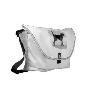 German Shepherd bw beach stand tongue out Courier Bag