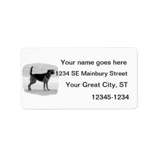 German Shepherd bw beach stand tongue out Label