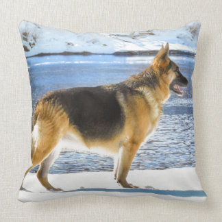 German Shepherd by River in WinterThrow Pillow