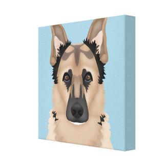 german shepherd cartoon canvas print