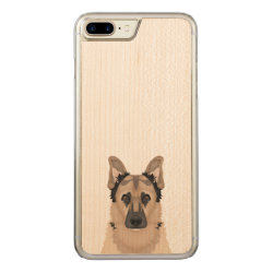 Carved Apple iPhone 7 Plus Wood Case with German Shepherd Phone Cases design