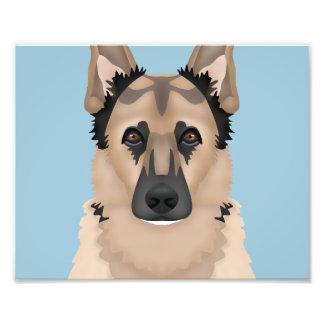 german shepherd cartoon photo print