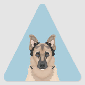 German Shepherd cartoon Triangle Sticker