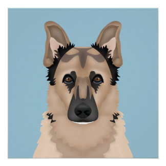 german shepherd cartoon perfect poster