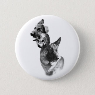 German Shepherd Charcoal 2 - Button