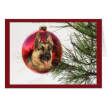 German Shepherd Christmas Ball Hanging2 Greeting Card