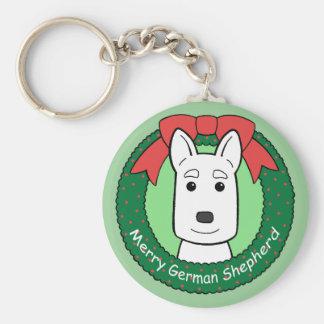 German Shepherd Christmas Basic Round Button Keychain