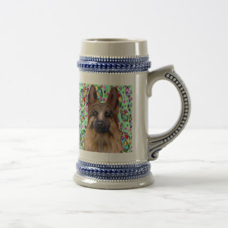 German Shepherd Christmas Beer Stein