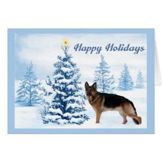 German Shepherd Christmas Card Blue Tree