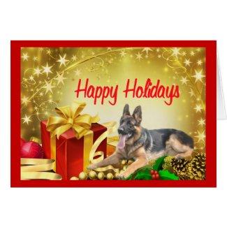 custom happy holidays present german shepherd christmas card