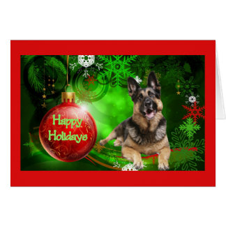German Shepherd Christmas Card Red Ball Green
