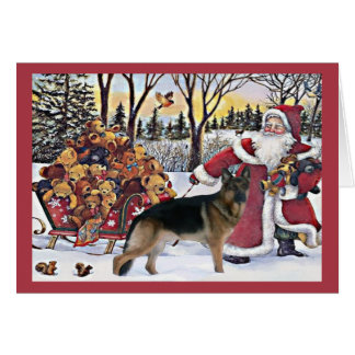 German Shepherd Christmas Card Santa Bears