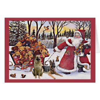 German Shepherd Christmas Card Santa Bears1