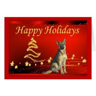 custom happy holidays stars german shepherd christmas card