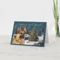 German Shepherd Christmas Evening Holiday Card
