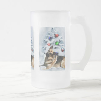 German Shepherd Christmas Gifts Frosted Glass Beer Mug