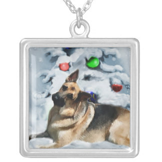 German Shepherd Christmas Gifts Silver Plated Necklace