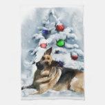 German Shepherd Christmas Hand Towel