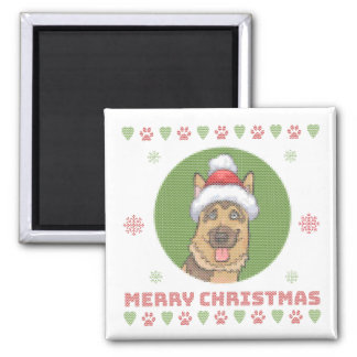 German Shepherd Christmas Knit Pattern Magnet