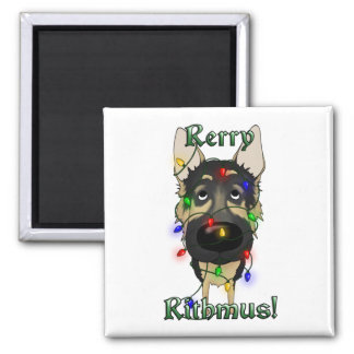 German Shepherd Christmas Lights Magnet