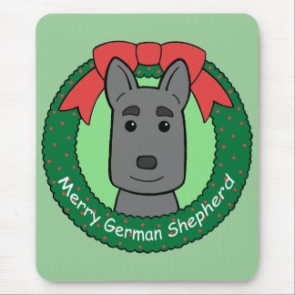 German Shepherd Christmas Mouse Pad