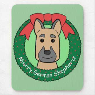 German Shepherd Christmas Mouse Pad
