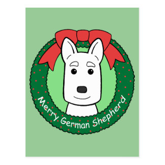 German Shepherd Christmas Postcard