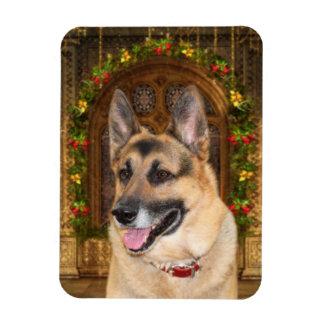 German Shepherd Christmas Rectangular Photo Magnet