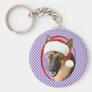 German Shepherd Christmas Santa Hat Basic Round Button Keychain