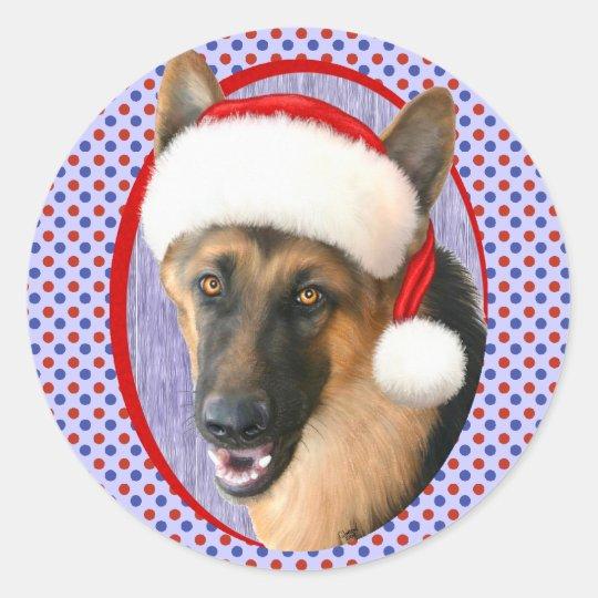 German Shepherd Christmas Santa Hat Classic Round Sticker