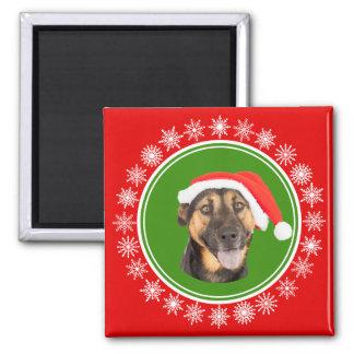 German Shepherd Christmas Santa Hat Jolly Dog Magnet