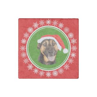 German Shepherd Christmas Santa Hat Jolly Dog Stone Magnet