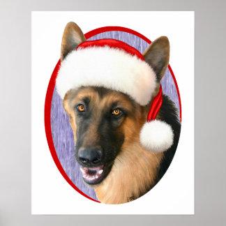 German Shepherd Christmas Santa Hat Poster