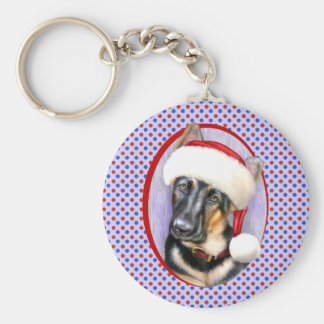 German Shepherd Christmas Santa Pup Basic Round Button Keychain