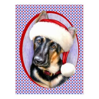 German Shepherd Christmas Santa Pup Postcard