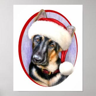 German Shepherd Christmas Santa Pup Poster