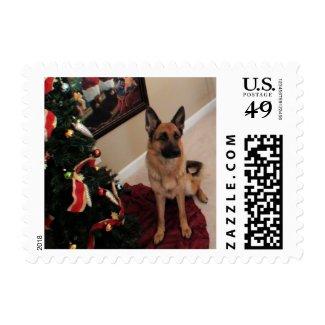 German Shepherd Christmas Stamp
