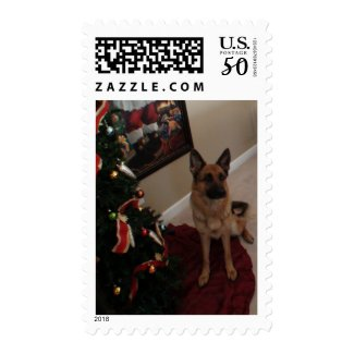 German Shepherd Christmas Stamp