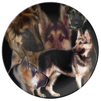 German Shepherd Collage Porcelain Plate