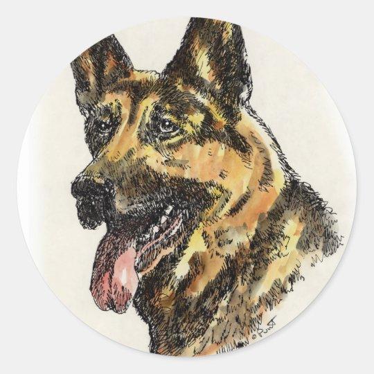 German Shepherd Color Classic Round Sticker